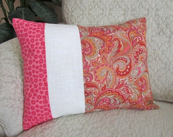 REDUCED -  Pink Throw Pillow Cover, Pink Cushion Cover, Decorative Lumbar, Taupe, Orange Pillow Cover - 12 x 16 - Modern Scroll