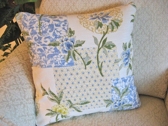 Dynasty Decorative Pillows : Decorative Throw Pillow Cover Yellow Blue 18 x 18 Ming Dynasty