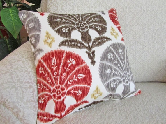 decorative throw pillow cover red brown gray 16 x 16 ikat. Black Bedroom Furniture Sets. Home Design Ideas