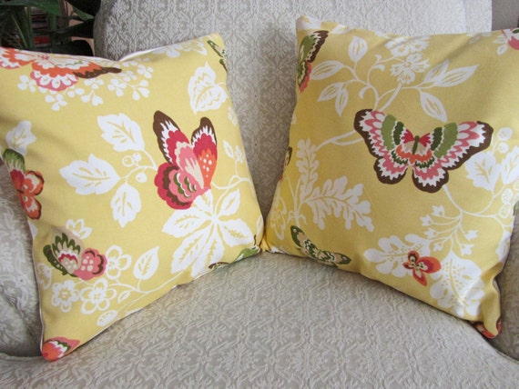 REDUCED - Yellow Throw Pillow Covers, Shabby Chic, Floral Cushion Covers, Decorative Pillow Shams, Butterfly Pillows - Set of Two - 16 x 16