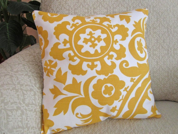 Bright Yellow Decorative Pillows : Decorative Throw Pillow Cover Bright Yellow by asmushomeinteriors