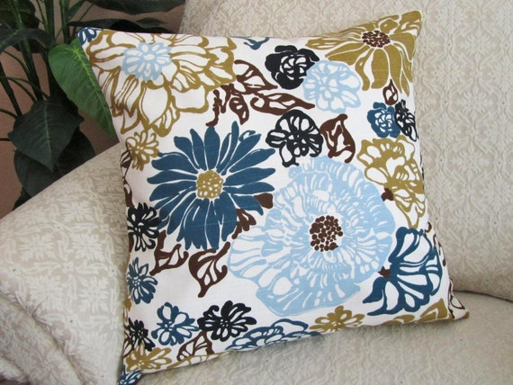 Throw Pillow Cover Decorative Blue Olive Green Brown 18 x 18