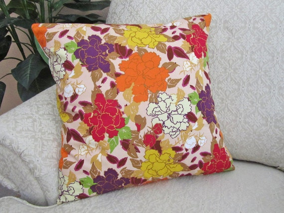 Floral Cushion Throw Pillow Cover Decorative Magenta Purple Orange Yellow 18 x 18 Bohemian Soul