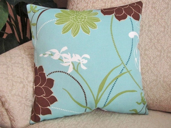 Throw Pillow Cover Decorative Cushion Cover Spa Blue Brown 16 x 16 Large Floral Indoor-Outdoor