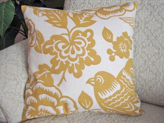 Decorative Throw Pillow Cover Mustard Yellow 16 x 16 Designer Bird