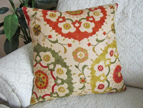Red And Beige Throw Pillows : Throw Pillow Cover Decorative Beige Red Green Orange Gold 18 x