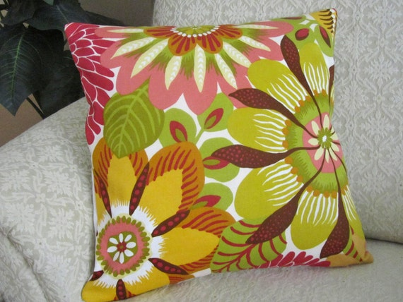 Large Floral Throw Pillow Cover Decorative Sofa Cushion Cover Pink Chartreuse Green Gold Fuchsia - 16 x 16