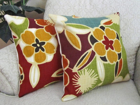 Floral Throw Pillow Covers Burgundy Green Burnt Orange