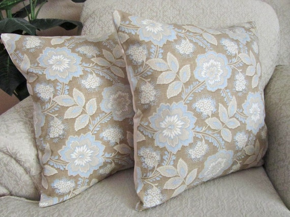 Floral Decorative Throw Pillow Cover Cushion Cover Couch Pillow Cover Robins Egg Blue Taupe Set of Two - 18 x 18 Yasmin