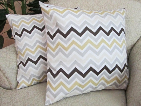 Neutral Chevron Throw Pillow Cover Decorative Couch Pillow Covers ZigZag Chocolate Brown Khaki Gray Bone Set of Two - 18 x 18