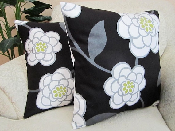REDUCED - Black White Floral Pillow Covers, Modern Cushion Covers, Lime Green, Modern Black Throw Pillows - Set of Two - 18 x 18