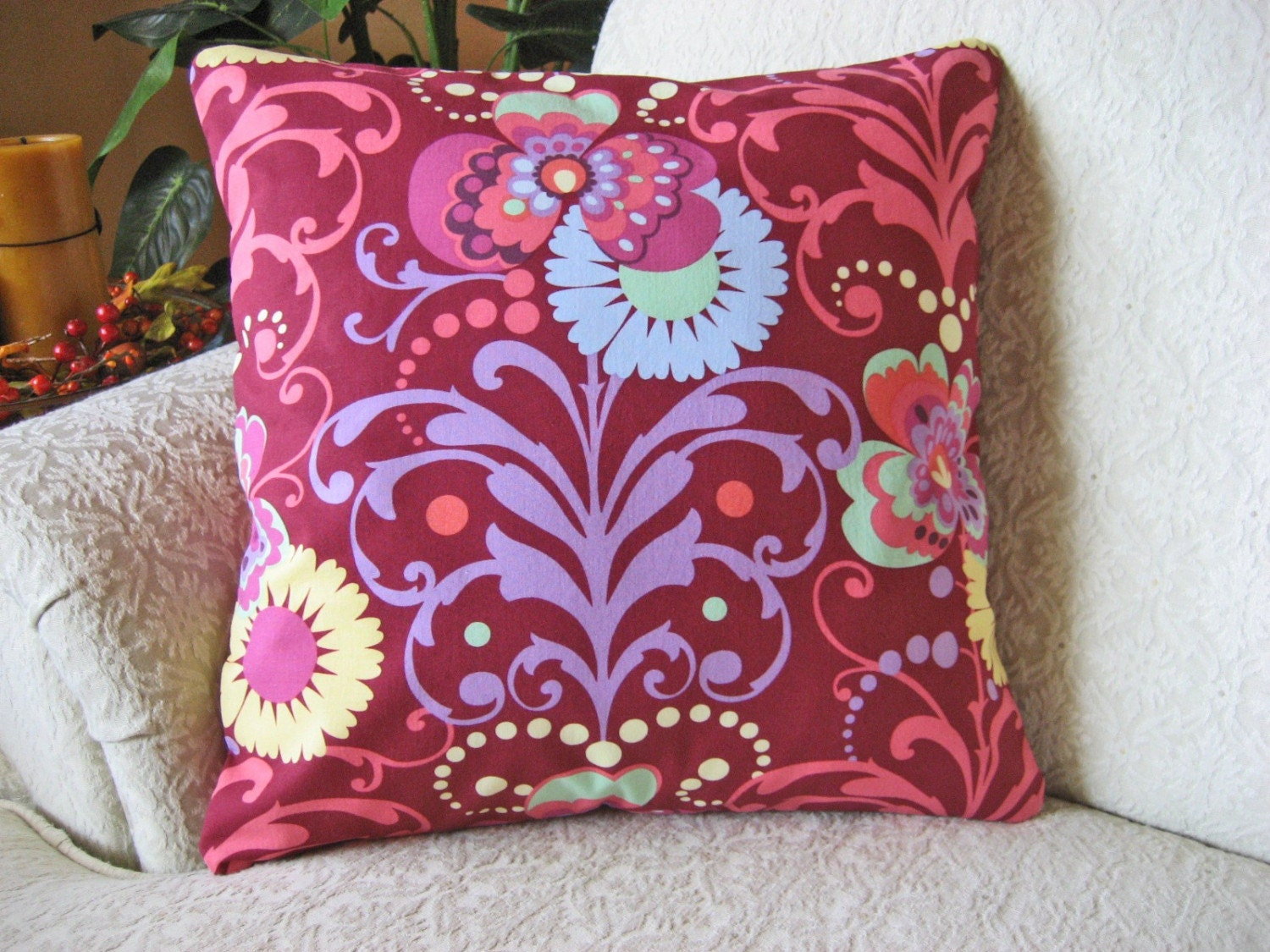 Decorative Throw Pillow Cover Raspberry Red by asmushomeinteriors