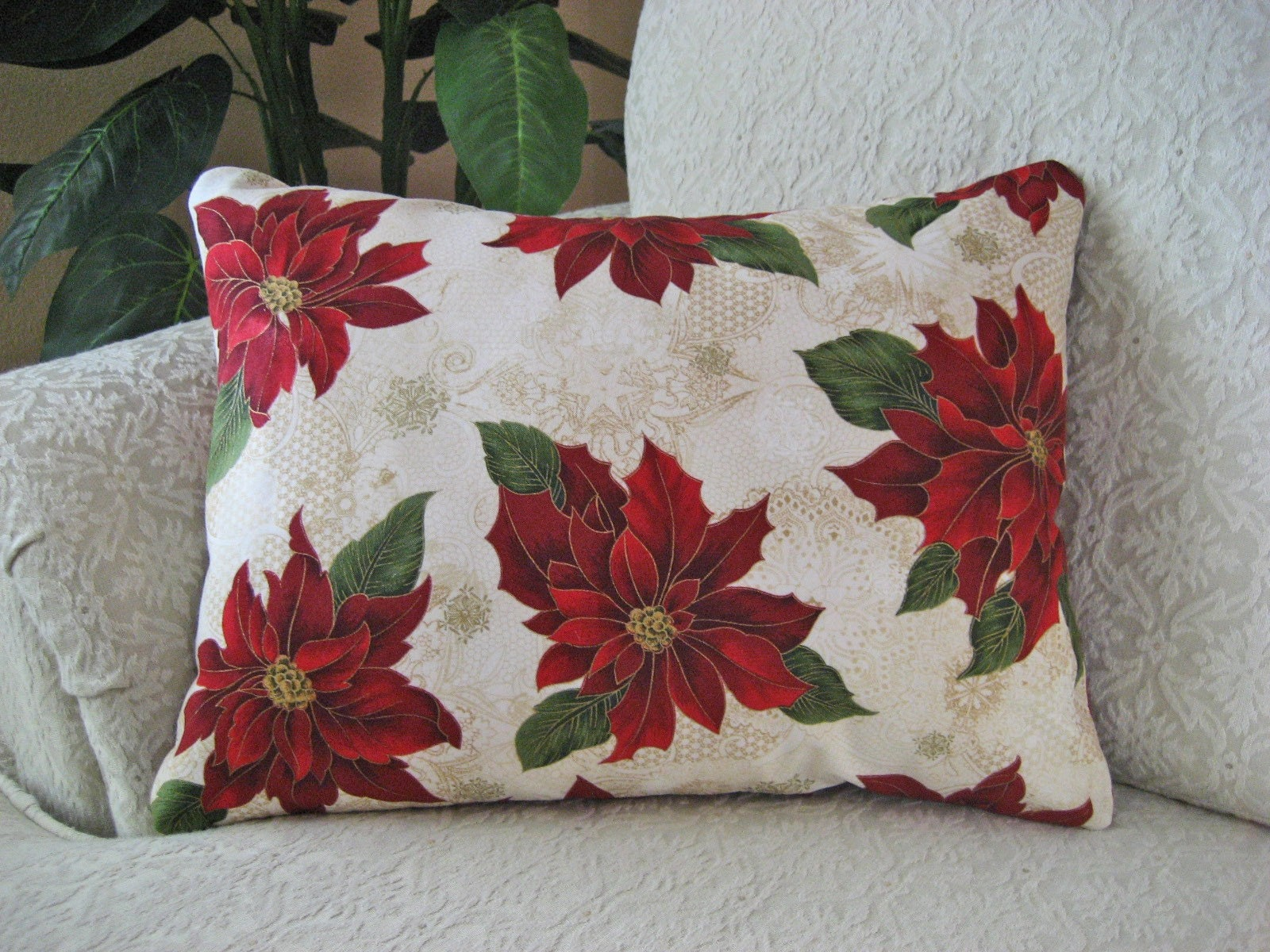 REDUCED Red Christmas Throw Pillow Cover Holiday Poinsettia