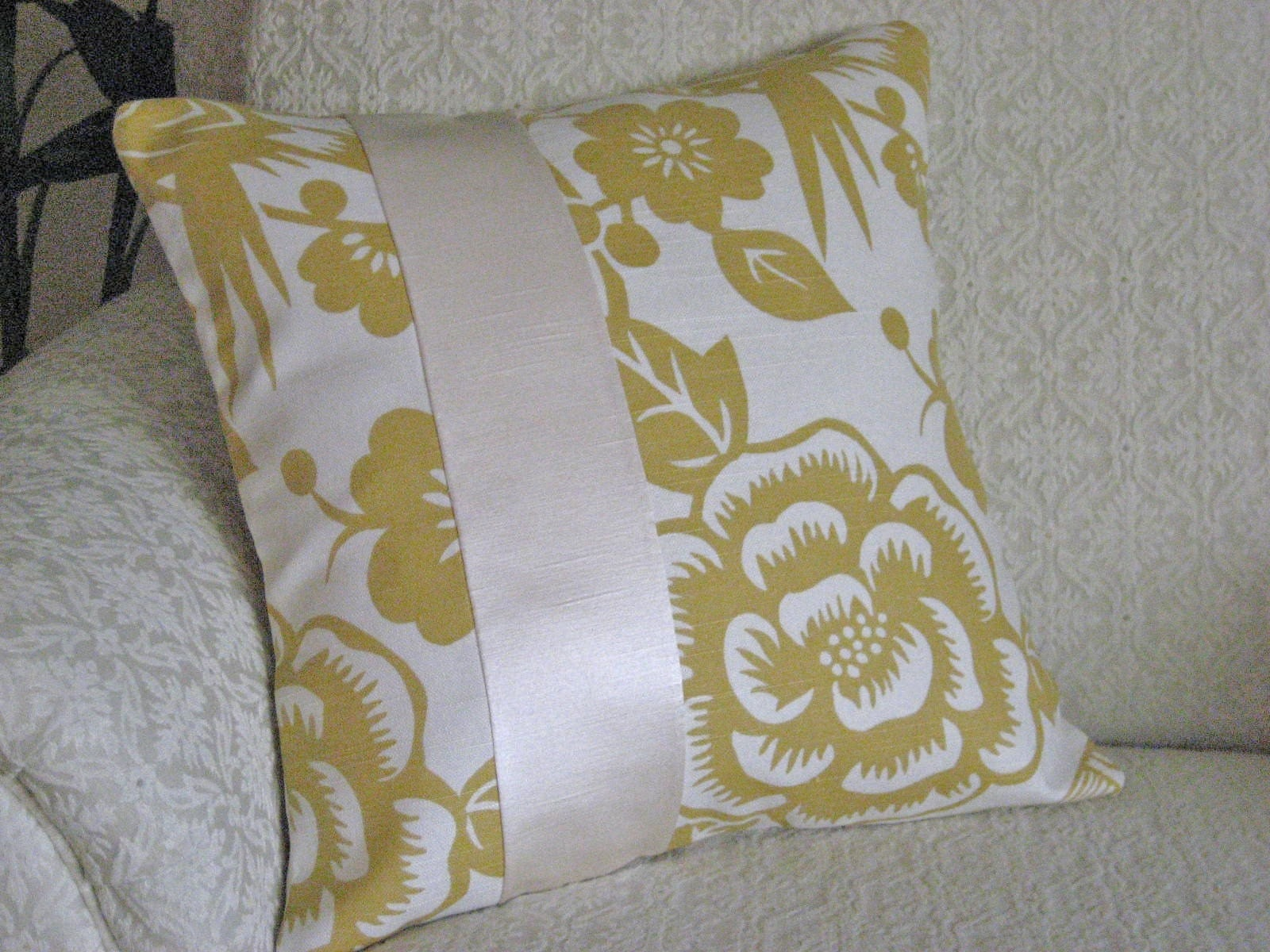 Decorative Throw Pillow Cover Yellow 16 x 16 Large Modern