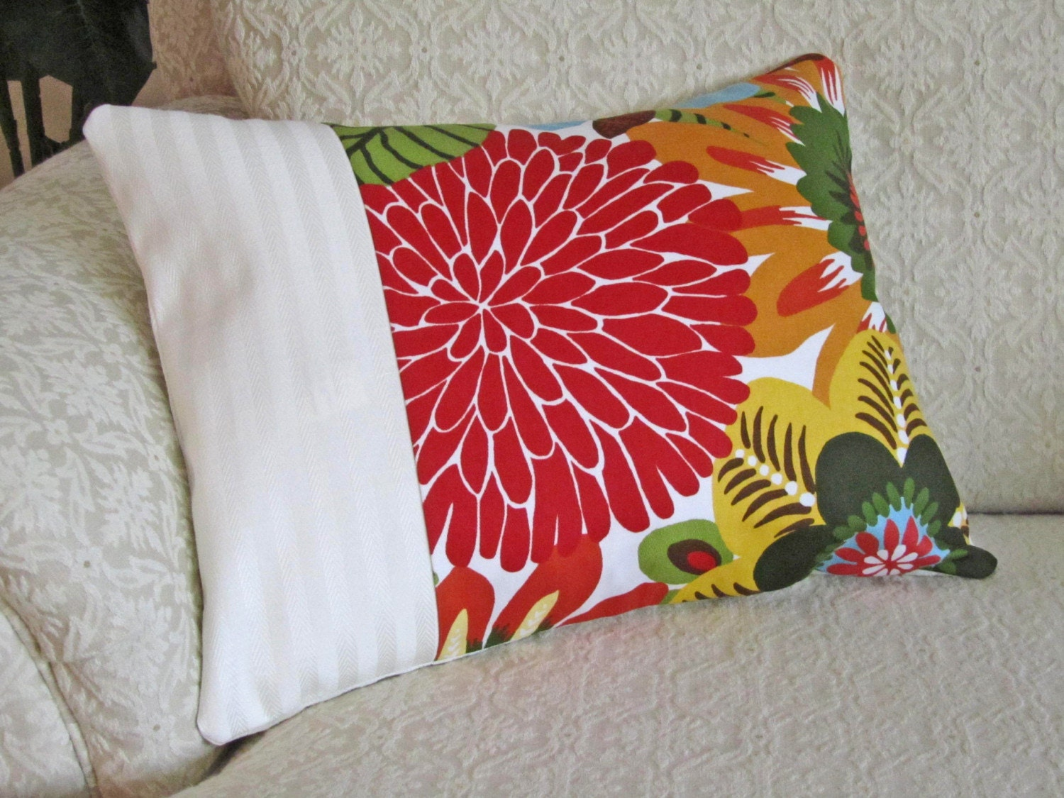 Decorative Throw Pillow Cover Red Cream 12 x by asmushomeinteriors