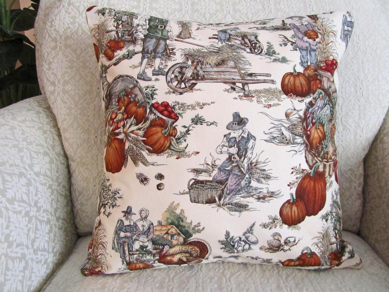 Decorative Throw Pillow Cover Red Pumpkin Brown Beige 16 x 16