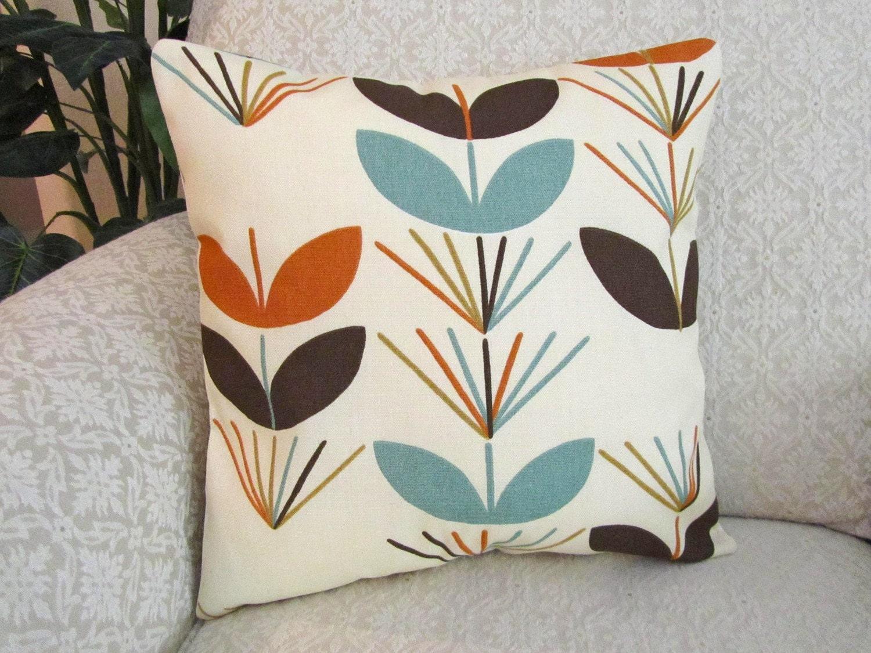 Throw Pillow Cover Decorative Orange Aqua Blue Brown 16 X 16