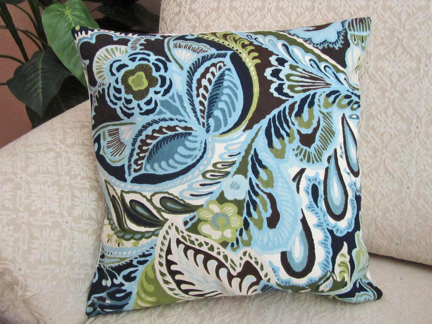 Powder Blue Throw Pillow Cover With Navy Blue Olive Chartreuse