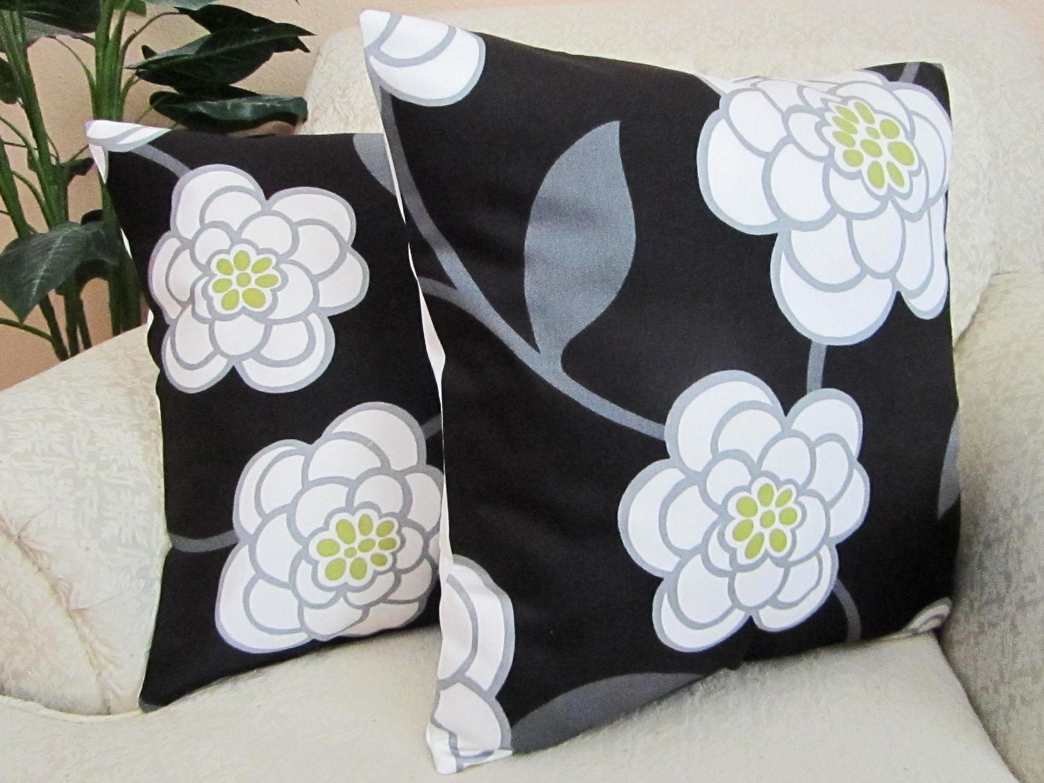 REDUCED Black White Floral Pillow Covers Modern Cushion