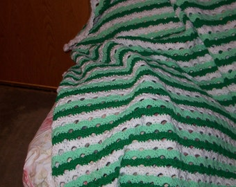 Crocheted Green Striped Afghan