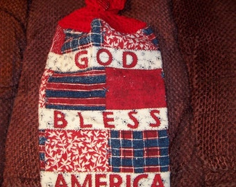 Crocheted Patriotic Hanging Towel