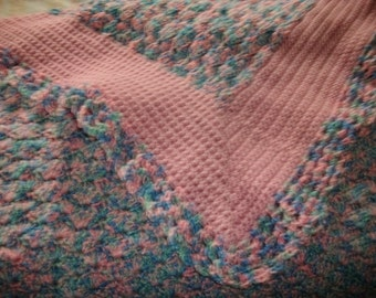 Crocheted Pink And Blue Baby Blanket