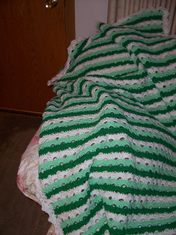 Crocheted Green Striped Afghan