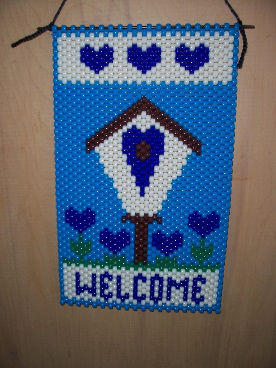 small welcome beaded banner by craftingaddiction on etsy