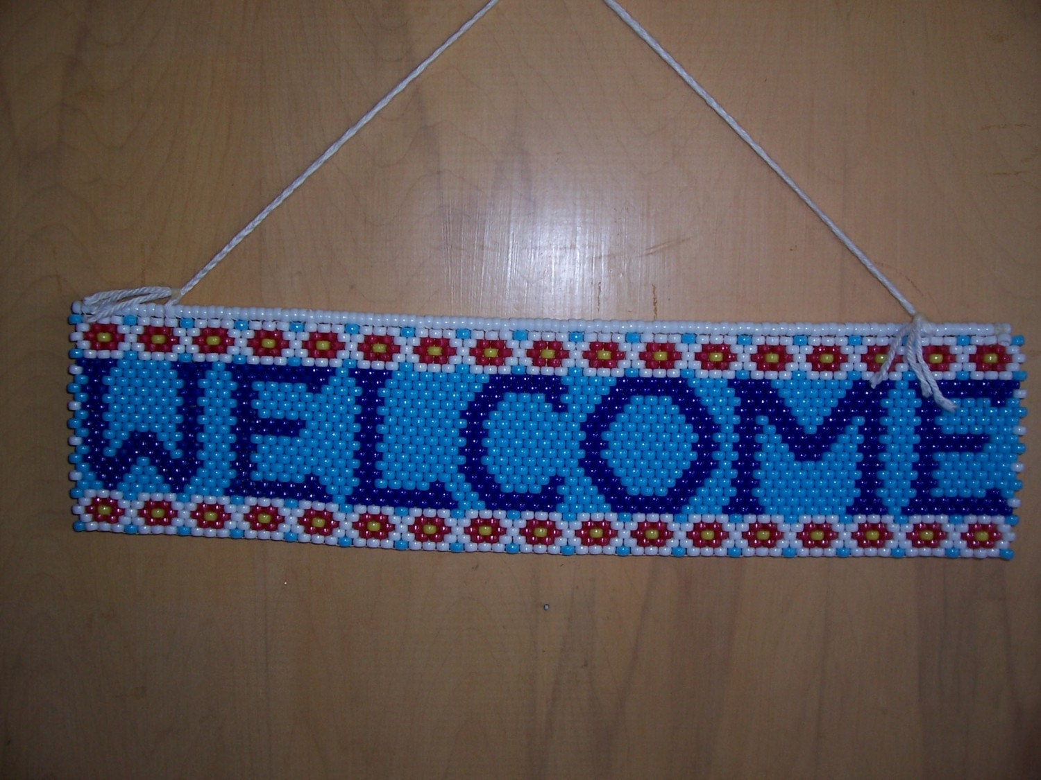 welcome beaded banner by craftingaddiction on etsy