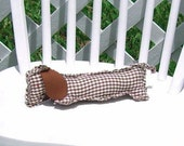 Brown Gingham Dachshund Wiener Dog OOAK Small Adult Toy Shelf Sitter