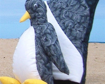 Penguin Kwilt Set Black and White Pillow Blanket and Stuffed Animal Adult Set OOAK