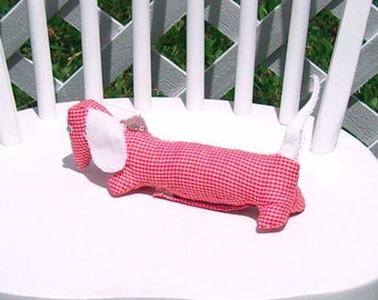 Dachshund Jewelry Keep  Dog Stuffed Animal Red Gingham Check Doxie OOAK