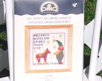Counted Cross Stitch Sampler Kit Clown DMC