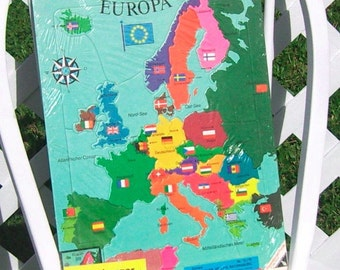 German Puzzle Map of Europe for Children 1971 Vintage
