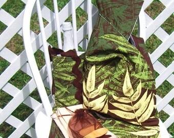 Picnic Set For Two Dark Brown Hawaiian Fern Print Bag Bottle Carrier Mat OOAK