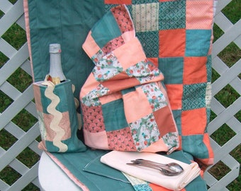 Picnic Set For Two with Quilt Bag Bottle Carrier Mats OOAK Travel Set Patchwork Peach and Country Green
