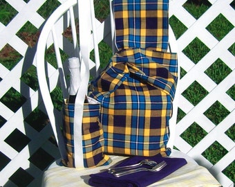 Picnic Set for Two Bag Bottle Carrier Tablecloth Blue Yellow Plaid
