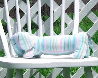 Dachshund Pastel Striped Corduroy Pillow Stuffed Dog Doxie