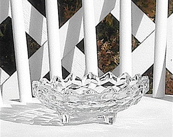 Cubist Glass Footed Bowl Candy Dish Vintage