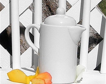 White Teapot With Lid Vintage Pottery Individual One Person