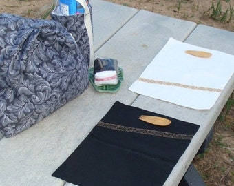 Picnic Set Travel Set Black and White Bag Bottle Carrier Mats OOAK
