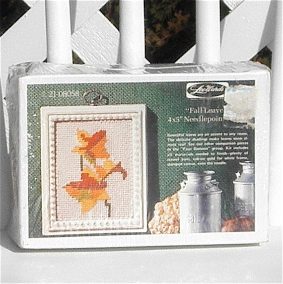 Fall Leaves Needlepoint Kit with Frame