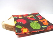Reusable Sandwich Bag, Eco Friendly Lunch Kit, Snack Bag, Apples, Pears, Fruit, Back to School, School Lunch Bag