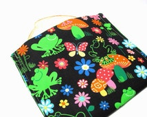 Reusable Sandwich Bag, Eco Friendly Lunch Kit, Snack Bag, Frogs, Mushrooms, Butterflies, Floral
