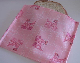ReUsable Eco Friendly Sandwich Bag Think Pink Pink Panther FREE Shipping