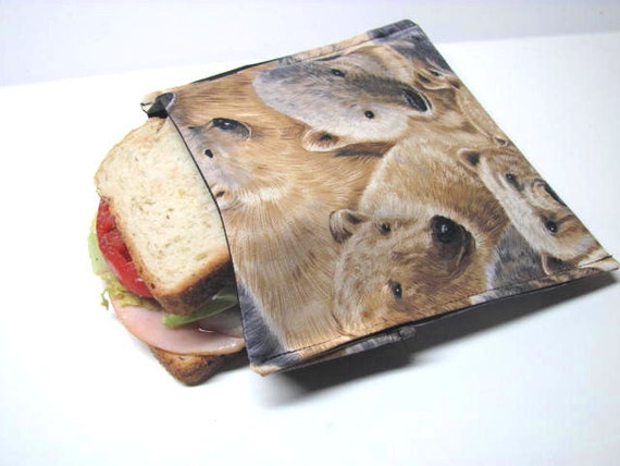 Polar Bear Reusable Sandwich Bag Eco Lunch Kit Large Size Ready to Ship Artic Bears Sandwich Baggie