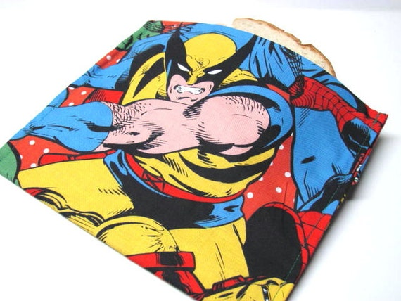 Eco Reusable Sandwich Bag -  Marvel Comics -  Large Size - Lunch Sack - SuperHero
