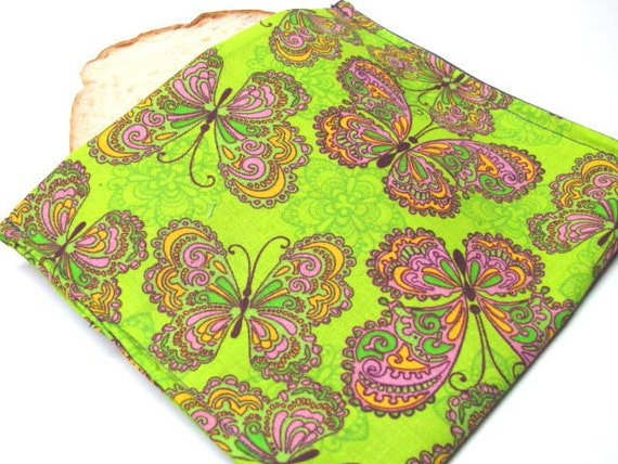 Lime Reusable Eco Friendly Sandwich Bag Pink Purple Butterfly Eco Lunch Tote Food Storage