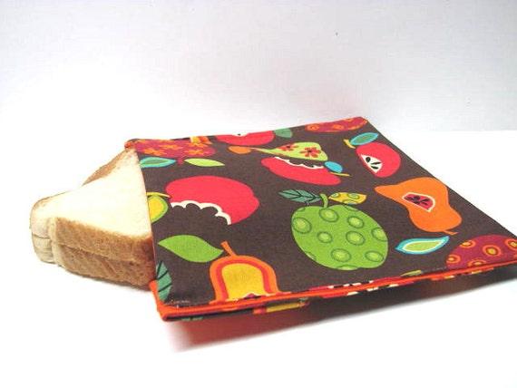 Reusable Sandwich Bag, Eco Friendly Lunch Kit, Snack Bag, Apples, Pears, Fruit