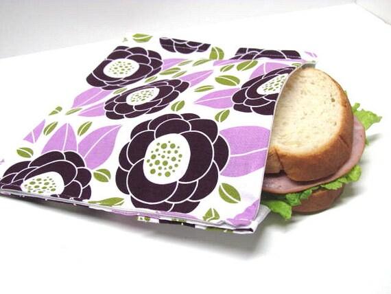 Reusable Sandwich Bag  Sandwich Purple Poppy Eco Lunch Bag Food Storage Purple Floral Modern Poppies